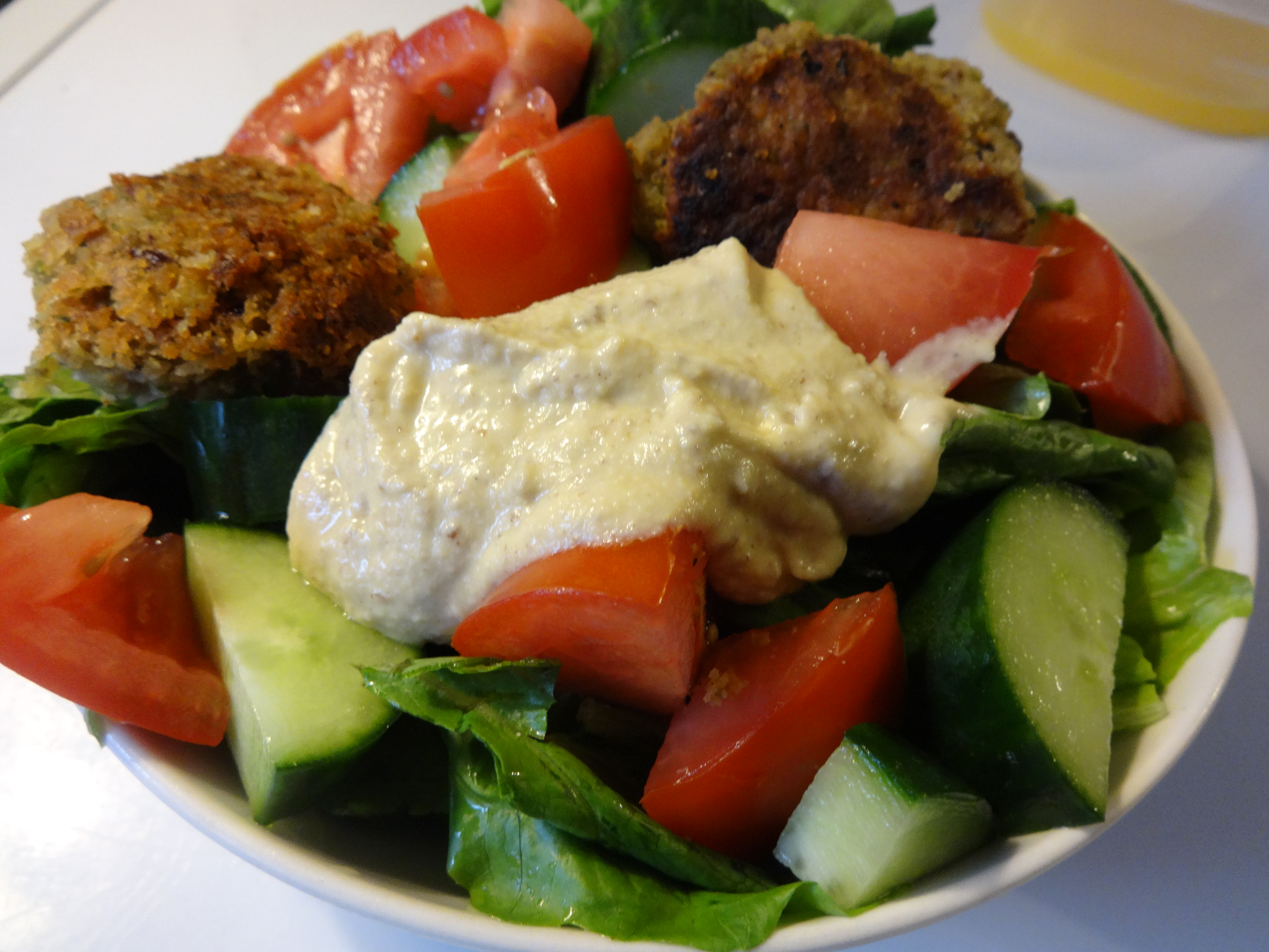 Falafel Salad with Flax Hummus (or How I Almost Ate a Cup of Coconut Oil) (Vegan, Gluten-Free)